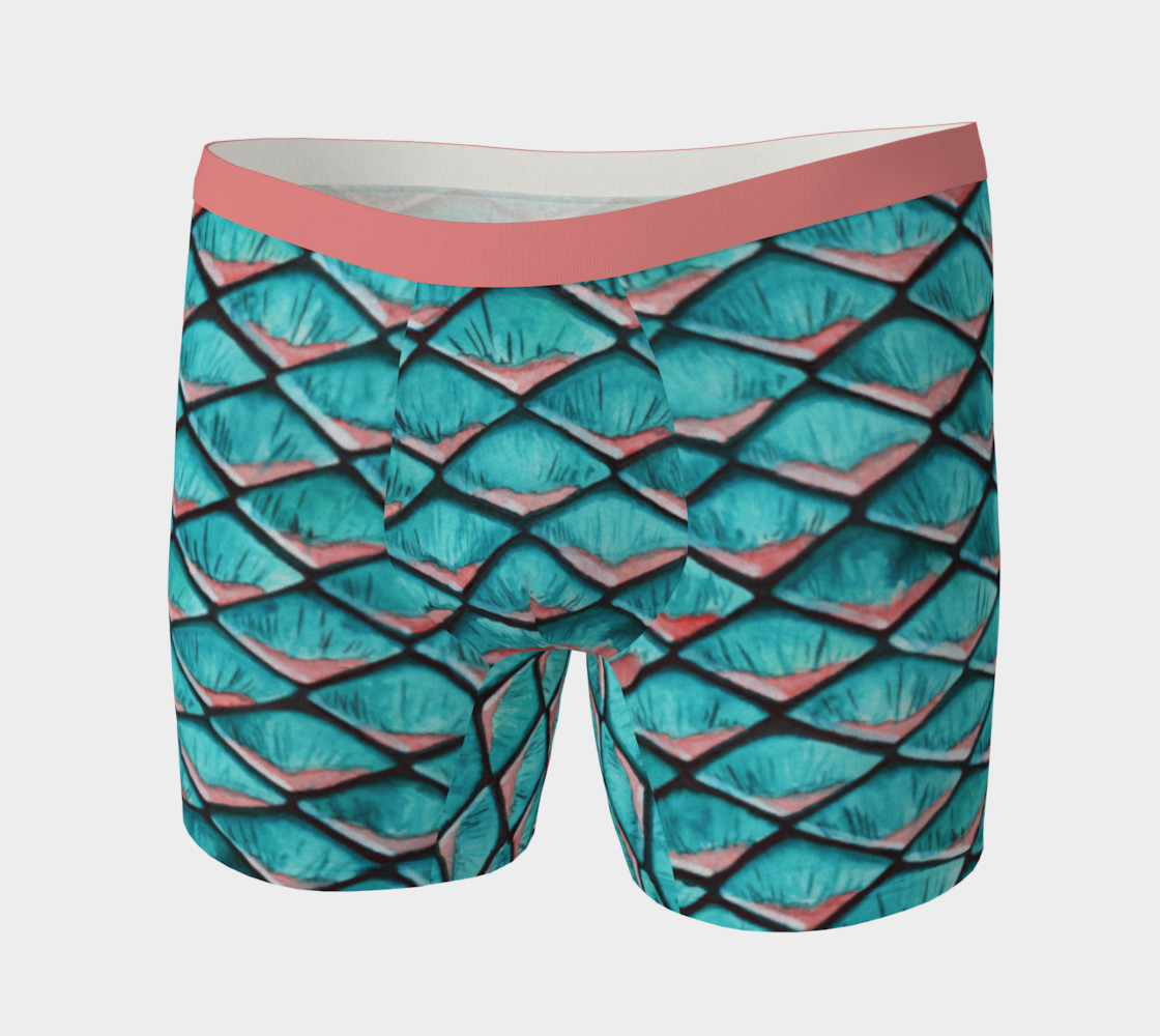Teal blue and coral pink arapaima mermaid scales pattern Boxer Brief preview #3