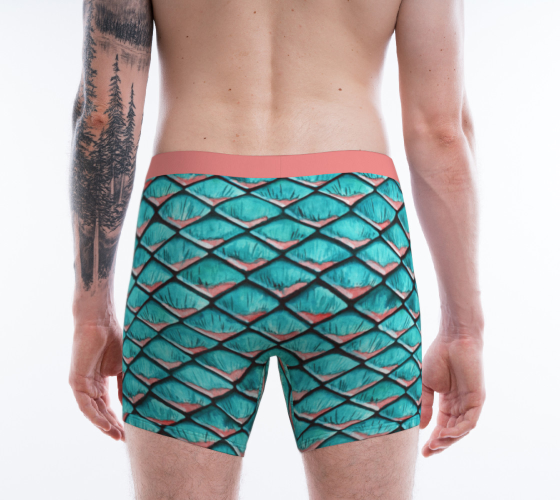 Teal blue and coral pink arapaima mermaid scales pattern Boxer Brief preview #2
