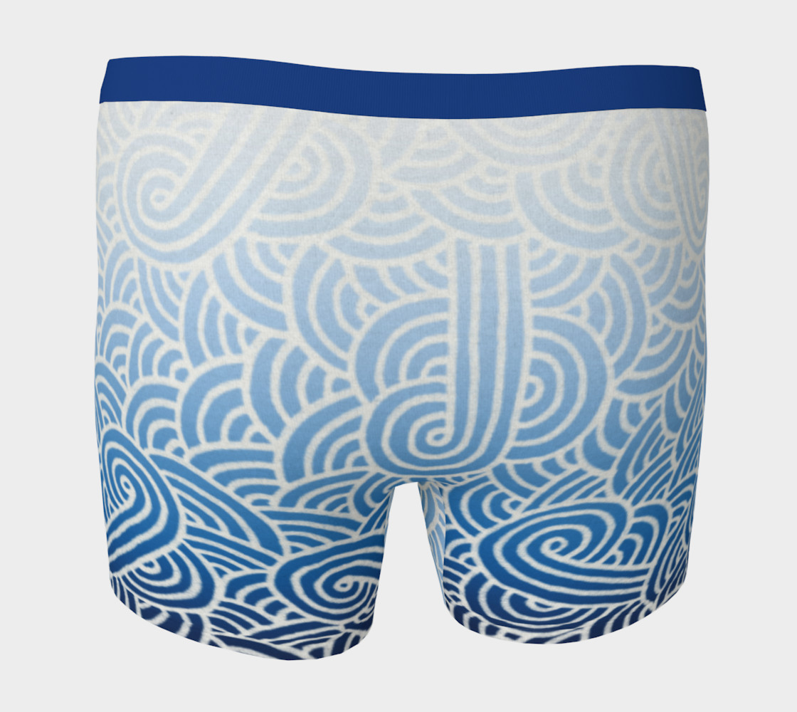 Ombré blue and white swirls doodles Boxer Brief Miniature #5