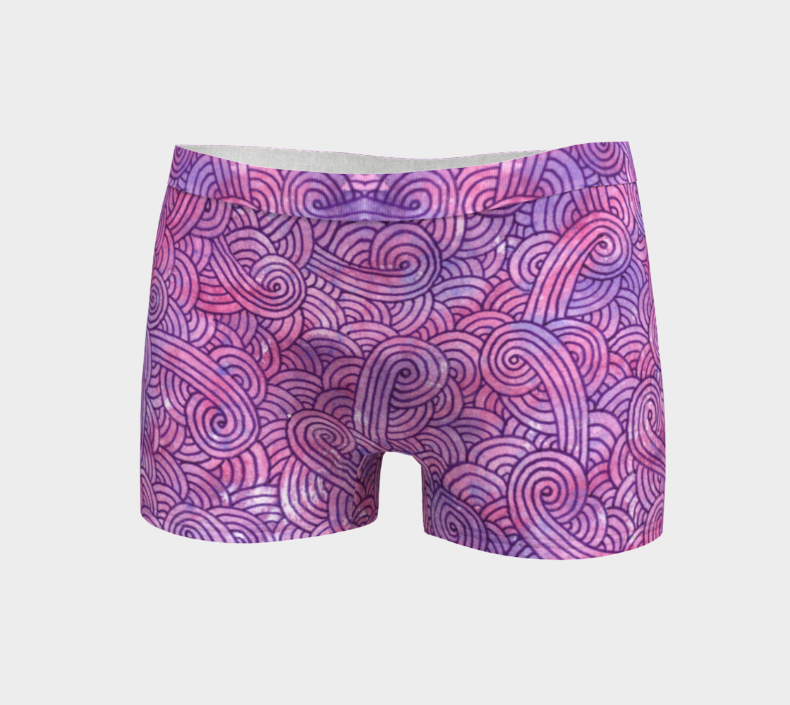 Neon purple and pink swirls doodles Boyshort preview #3