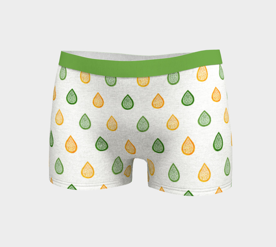 Yellow and green raindrops Boyshort preview #3