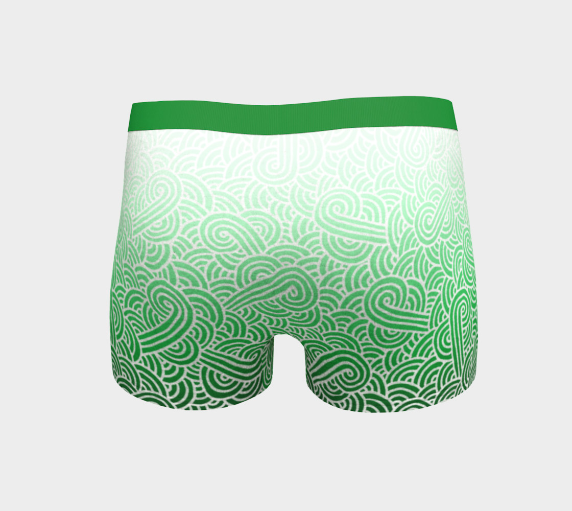 Ombré green and white swirls doodles Boyshort preview #4