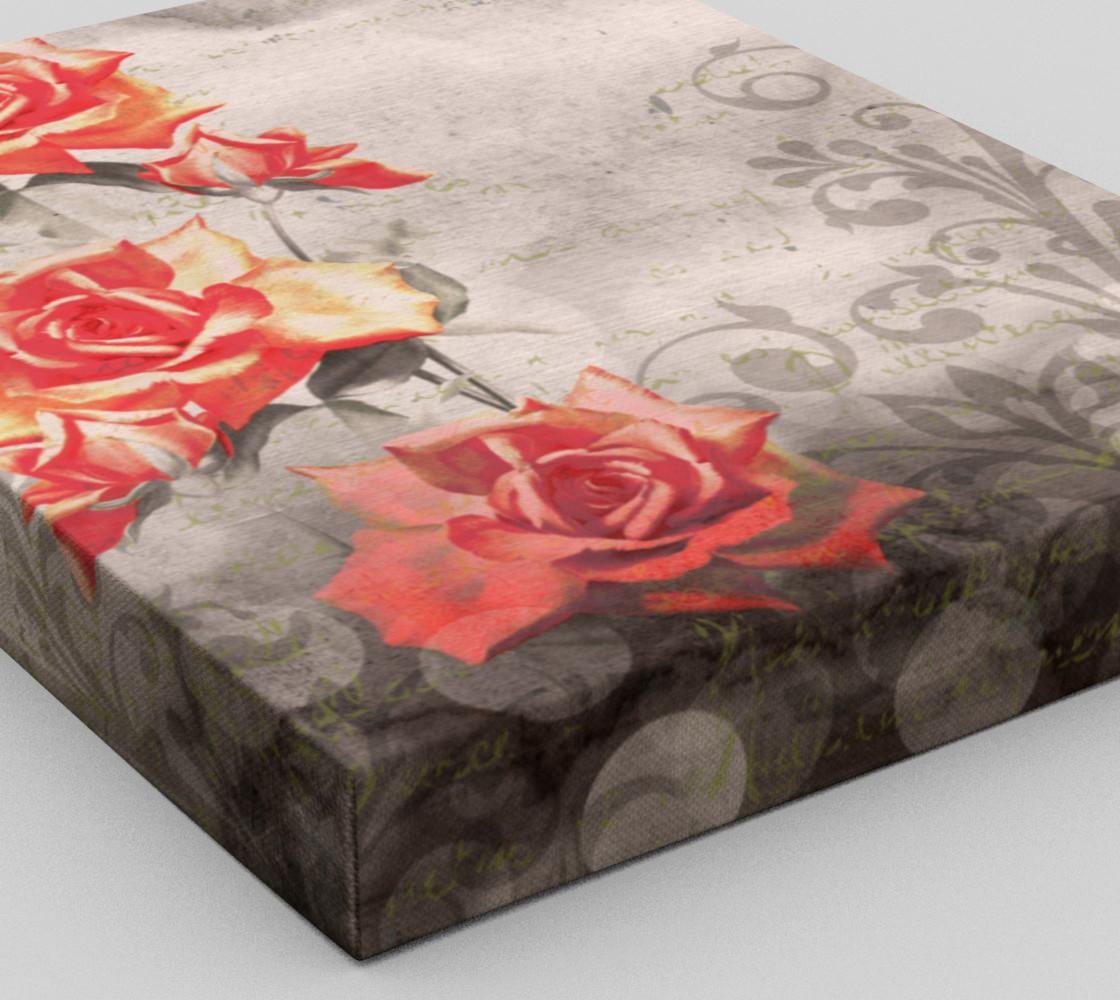 Aperçu de Vintage Red Rose Grey Floral Wall Art #3