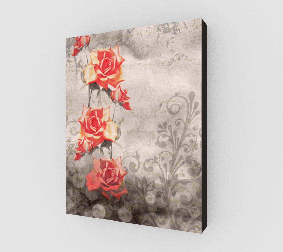 Aperçu de Vintage Red Rose Grey Floral Wall Art #2