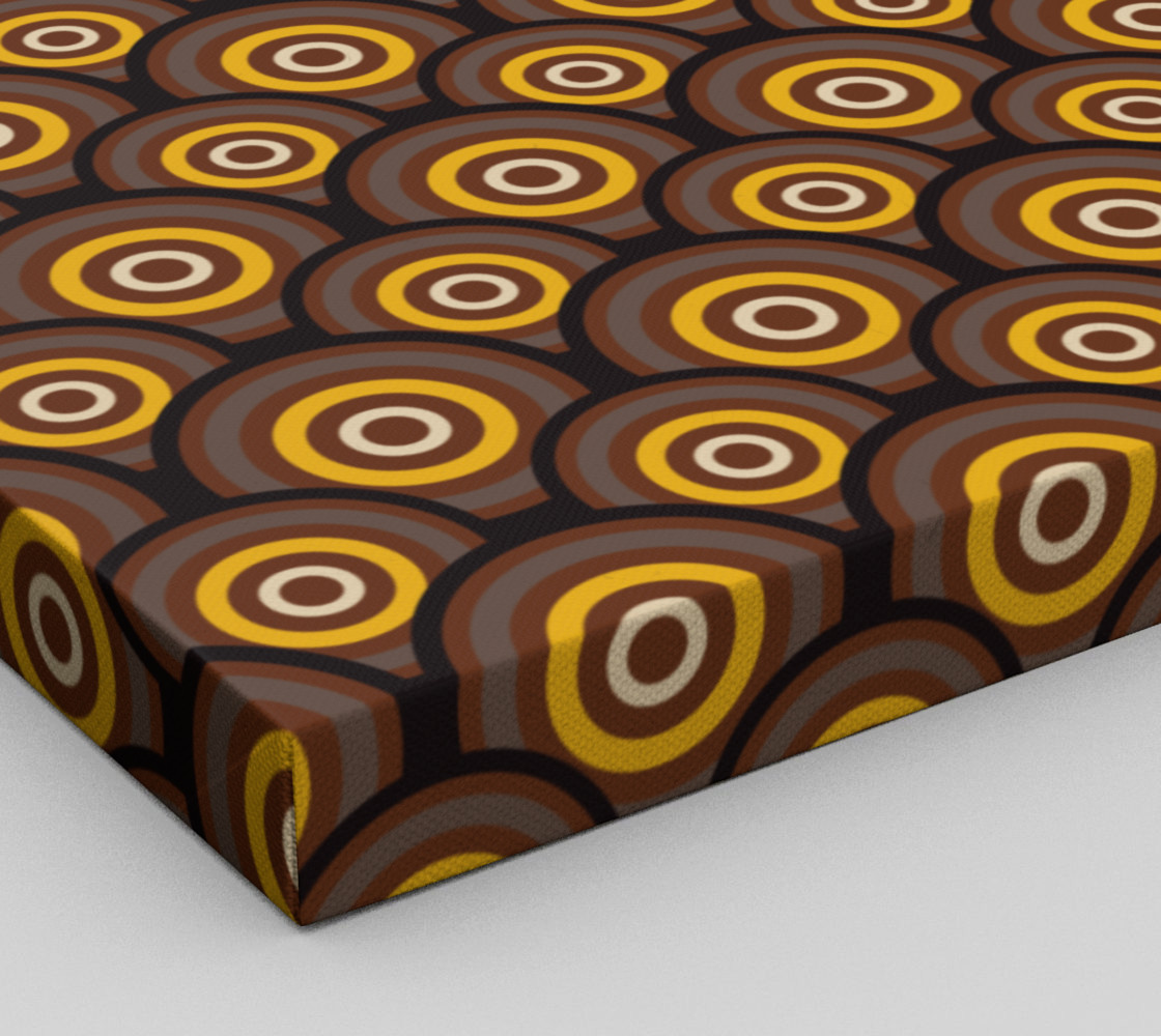 retro circles brown with yellow preview #3