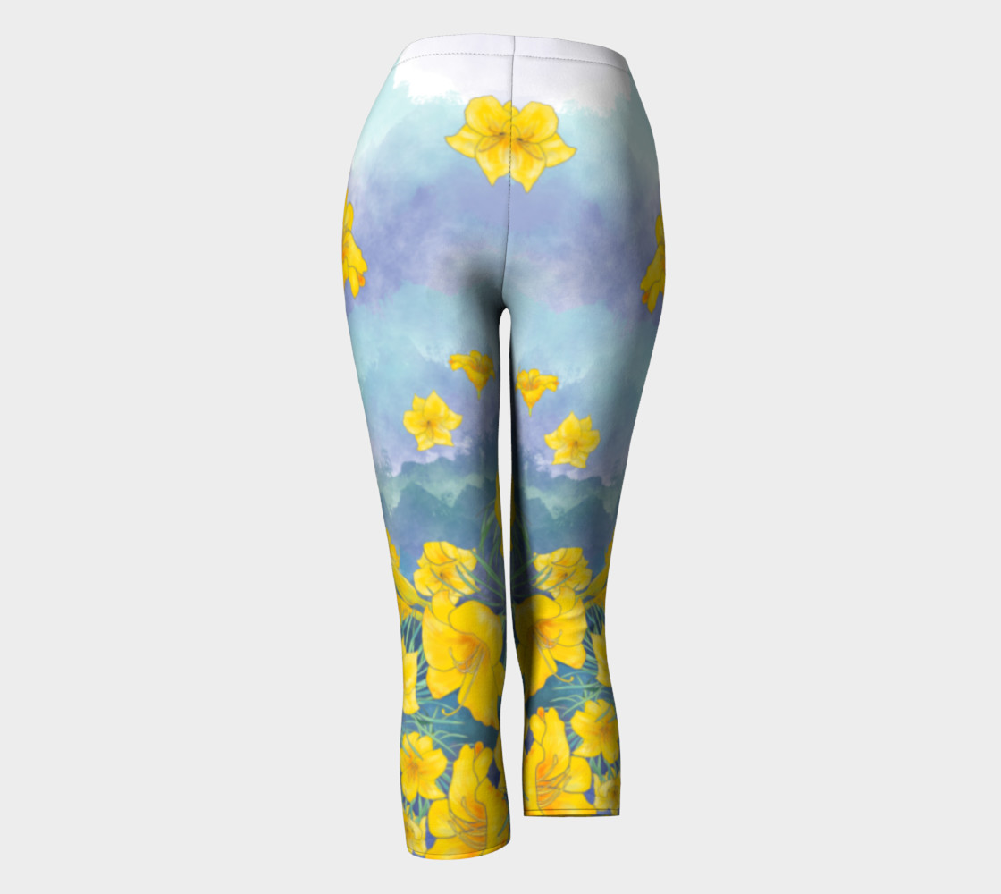 Yellow day lily flowers over cloudy sky capris preview #4