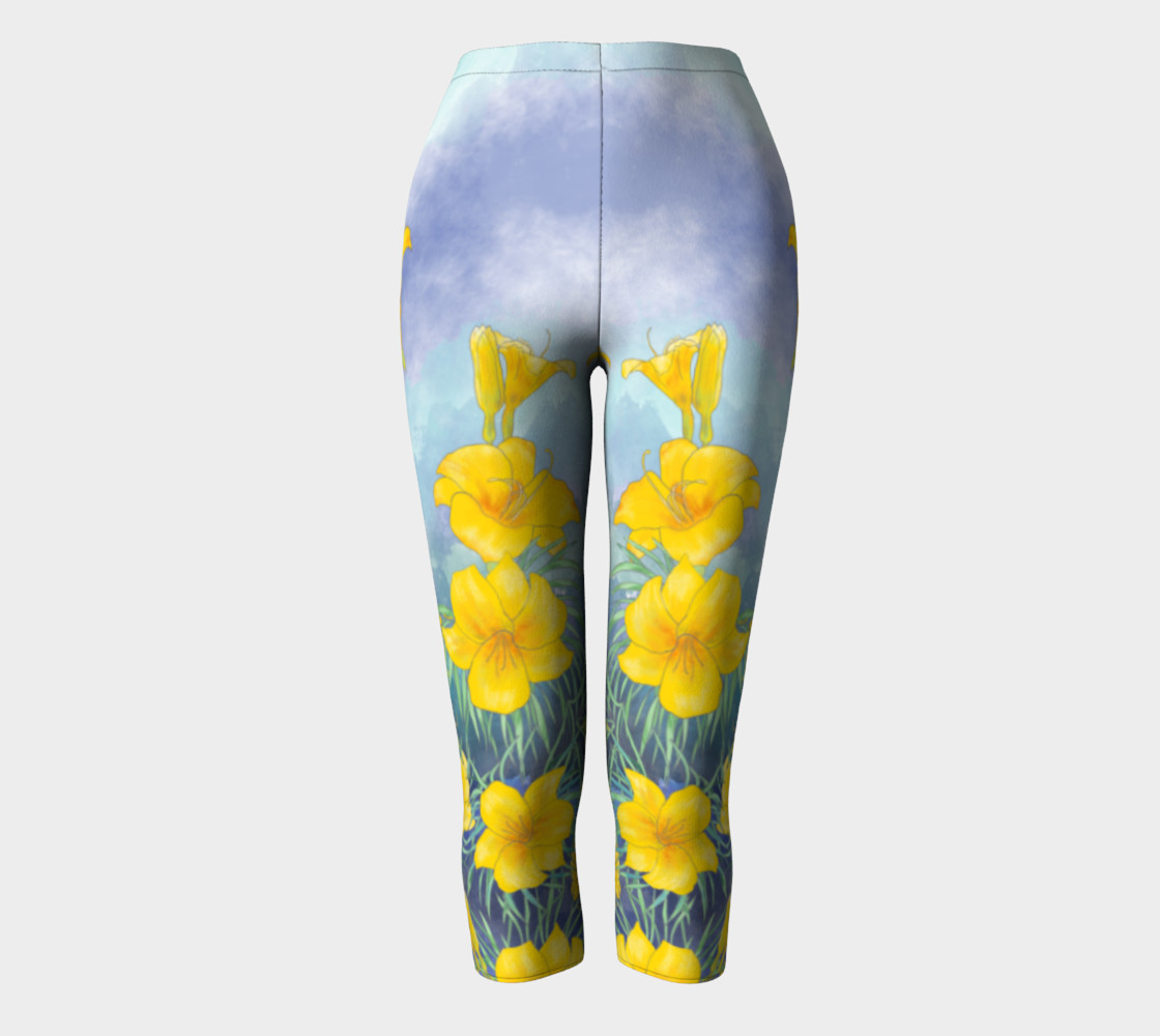 Yellow day lily flowers over cloudy sky capris preview #2