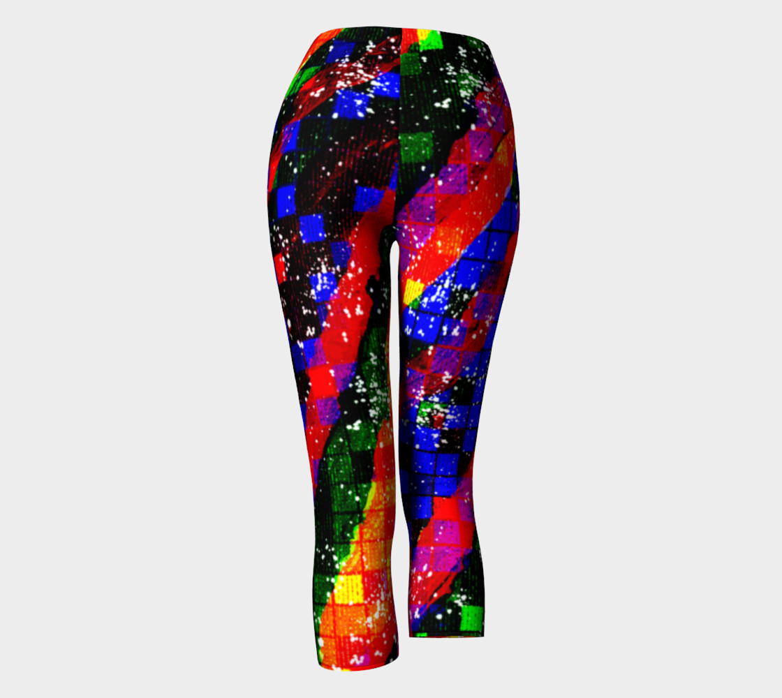 Fiery Colorful Grunge Squares and Stripes Capri Leggings Miniature #5
