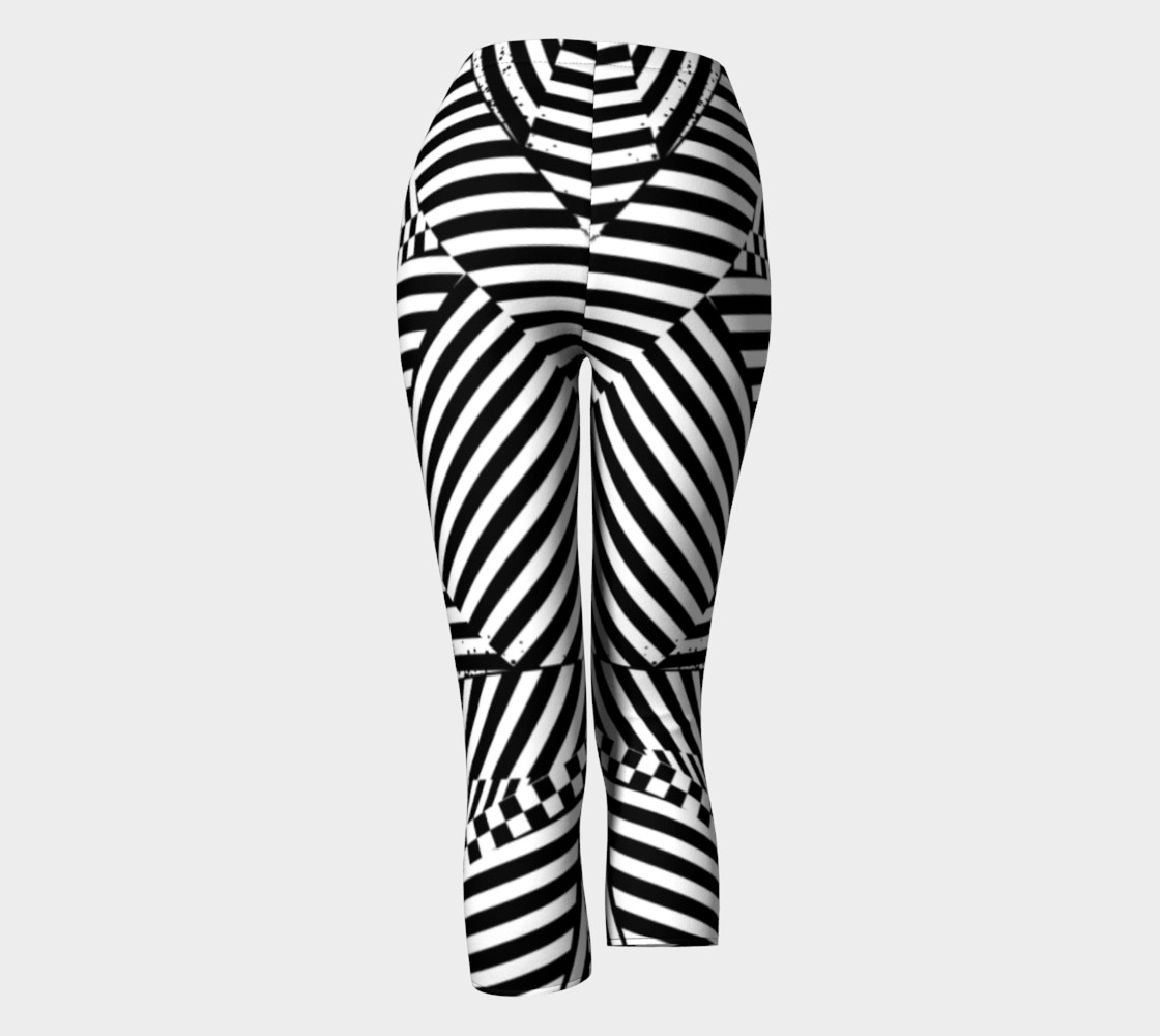 Aperçu de Black White Stripes Checkerboard Grunge Capri Leggings #4