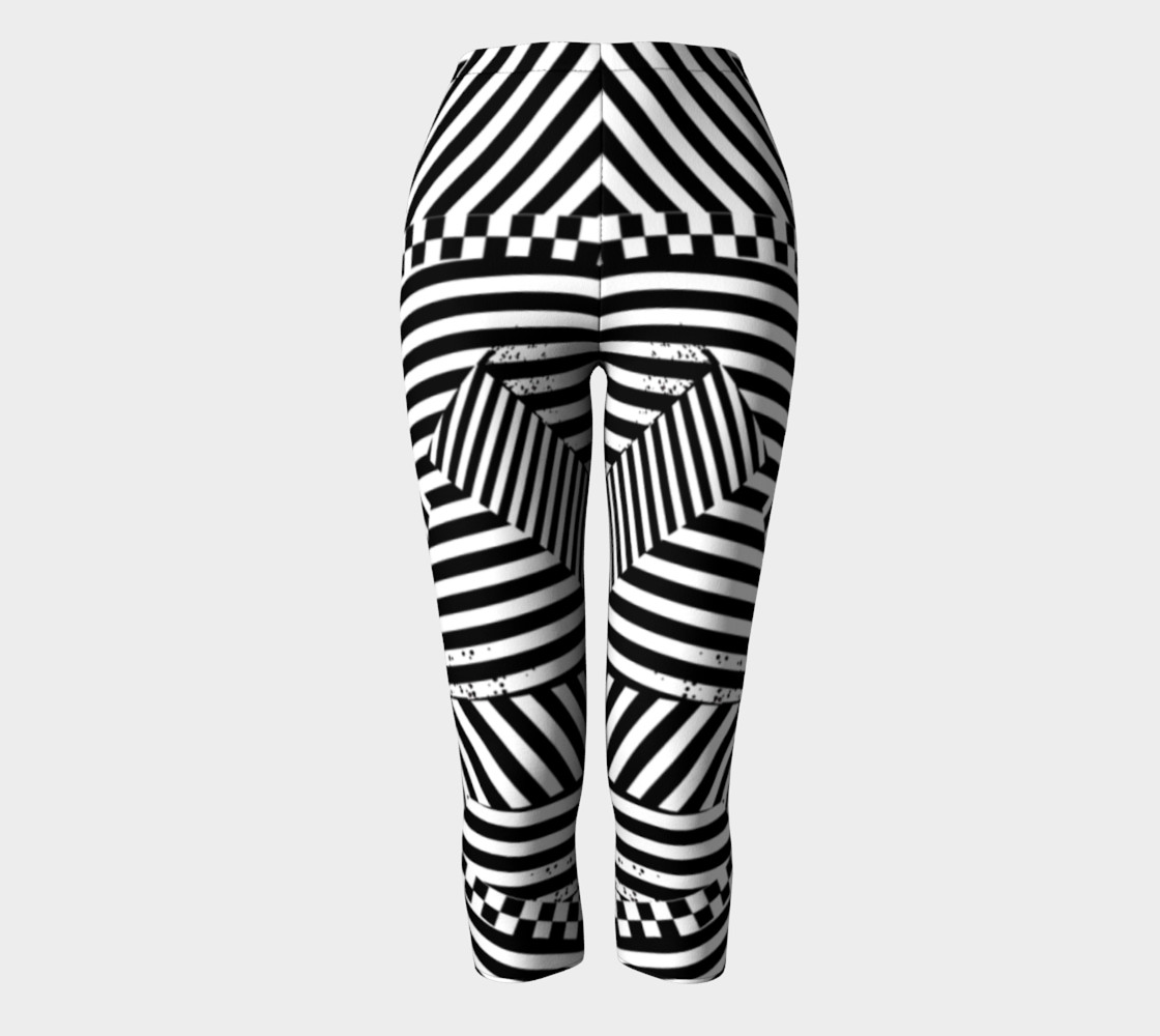 Aperçu de Black White Stripes Checkerboard Grunge Capri Leggings #2