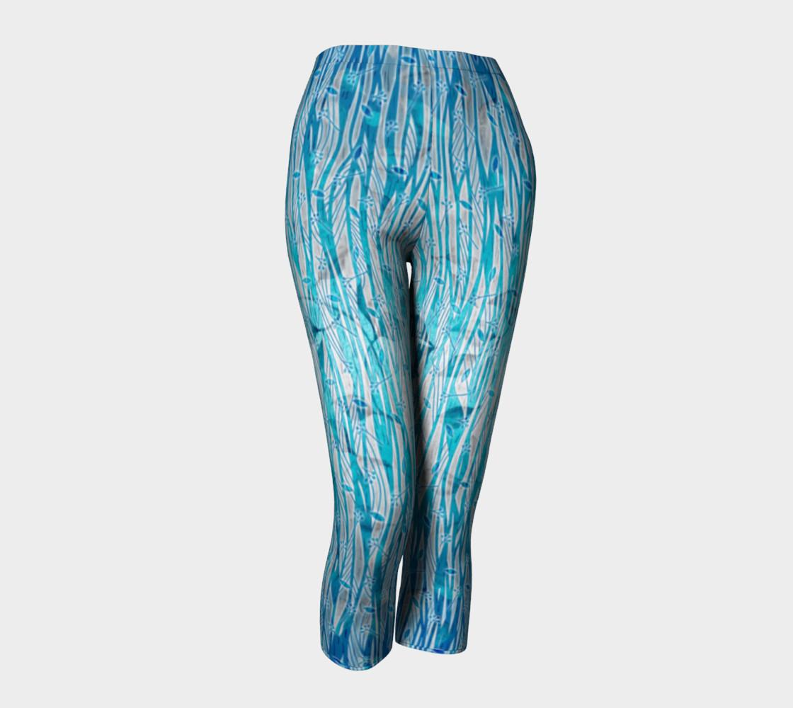 Blue Turquoise Silver Leafy Floral Capri Leggings preview #1