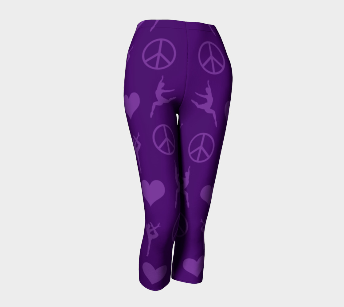 Purple gymnastics hearts peace gymnasts leggings preview #1