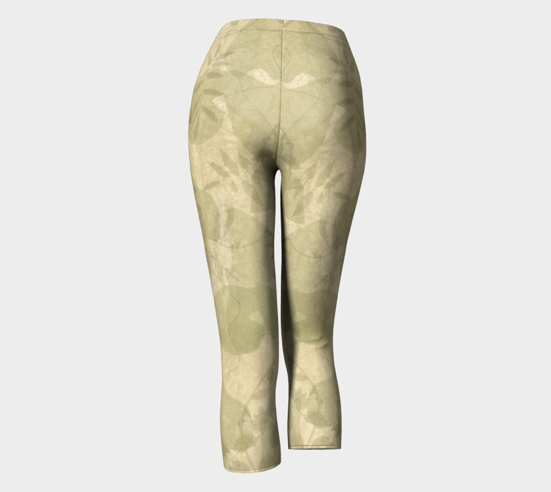Parchment Leaves boho art capri leggings preview #4
