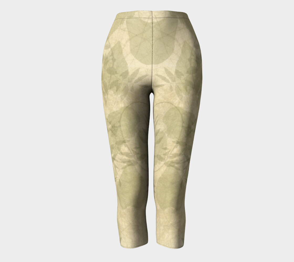Parchment Leaves boho art capri leggings preview #2