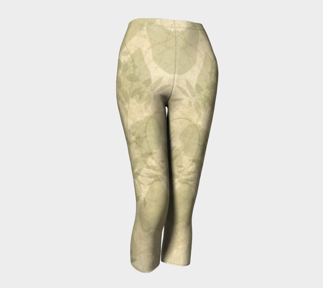 Parchment Leaves boho art capri leggings preview #1