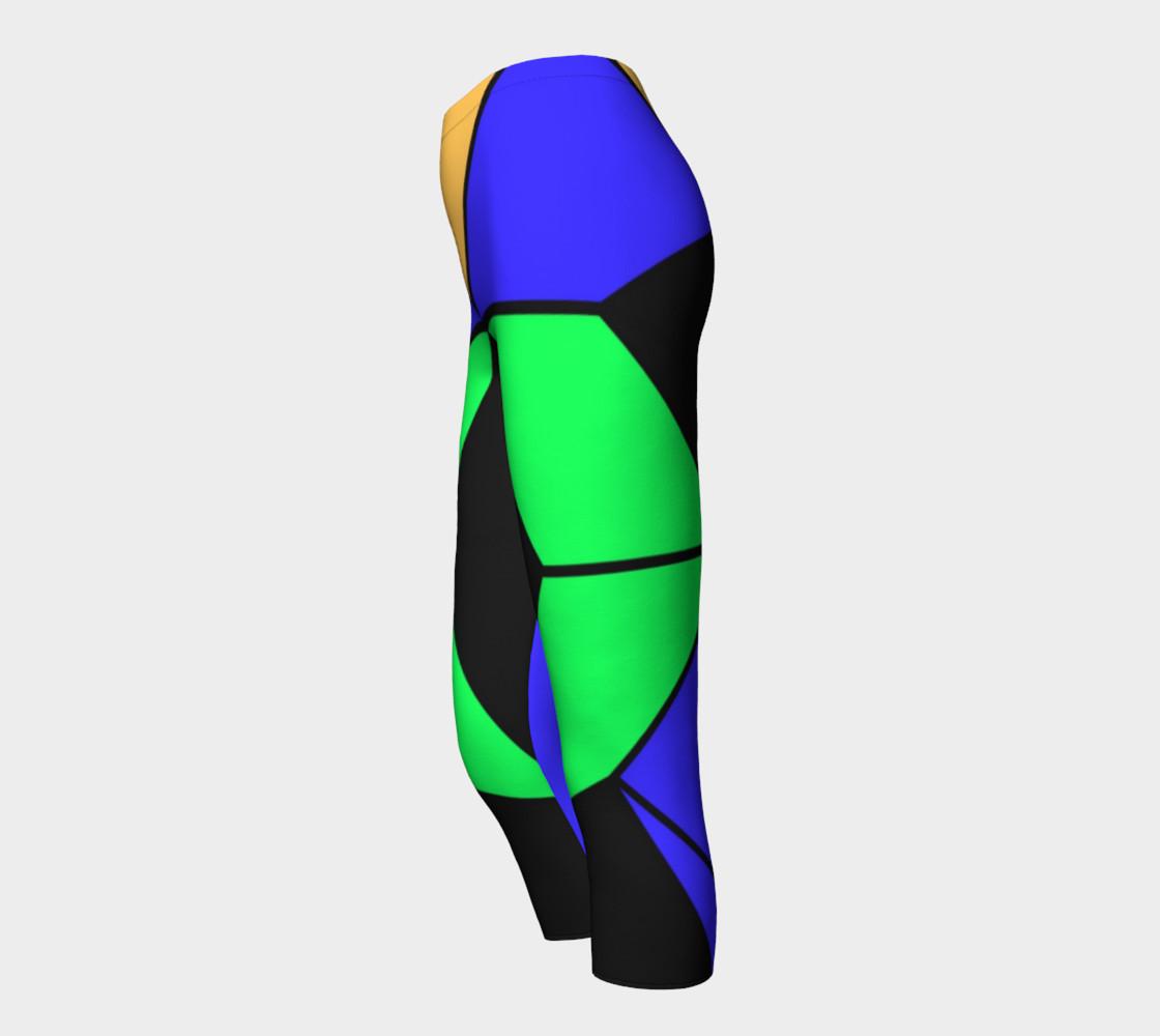 Neon Green Blue Black Capri Leggings  preview #3