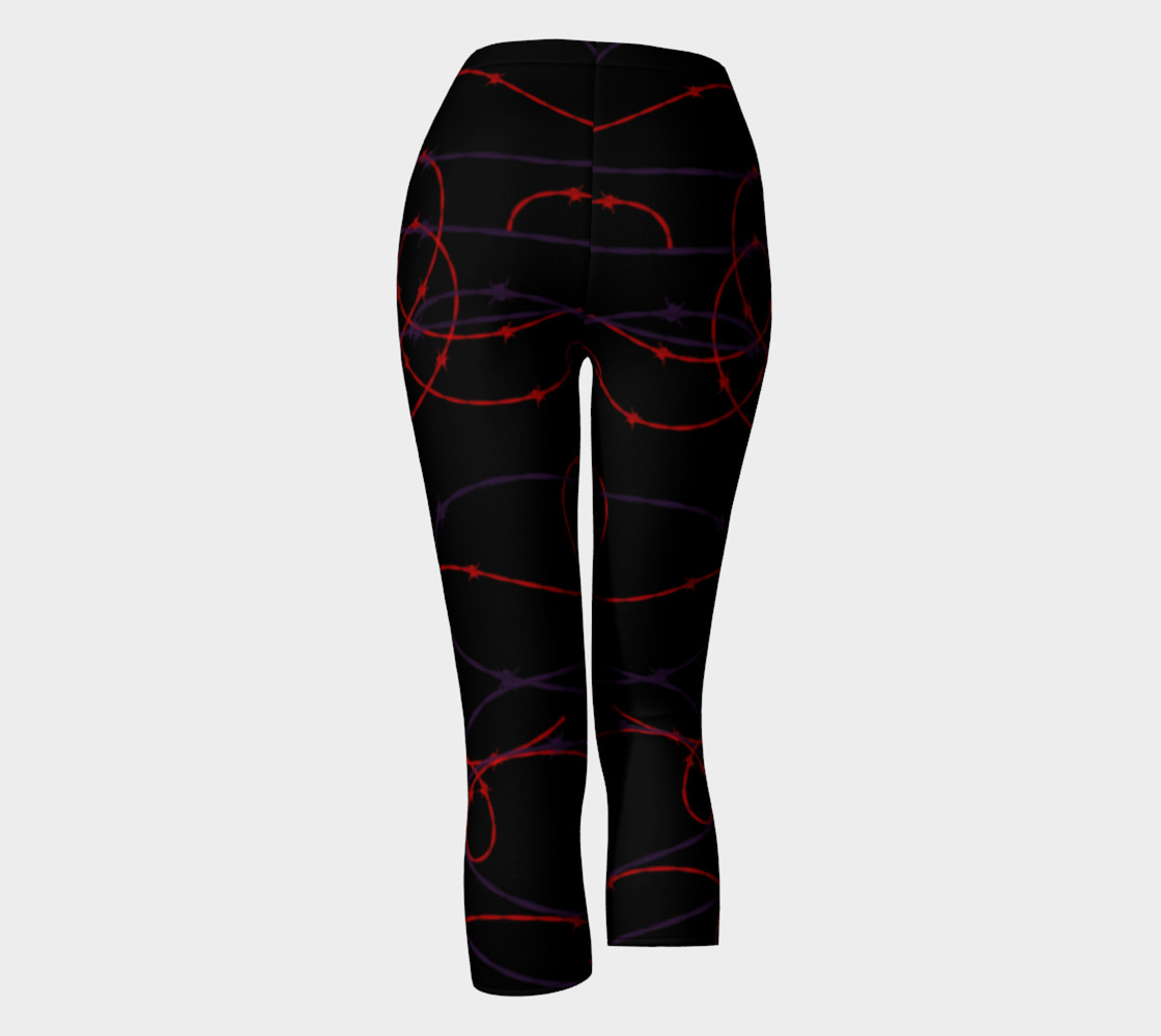 Aperçu de Gothic Barbed Wire Print Leggings by Tabz Jones  #4