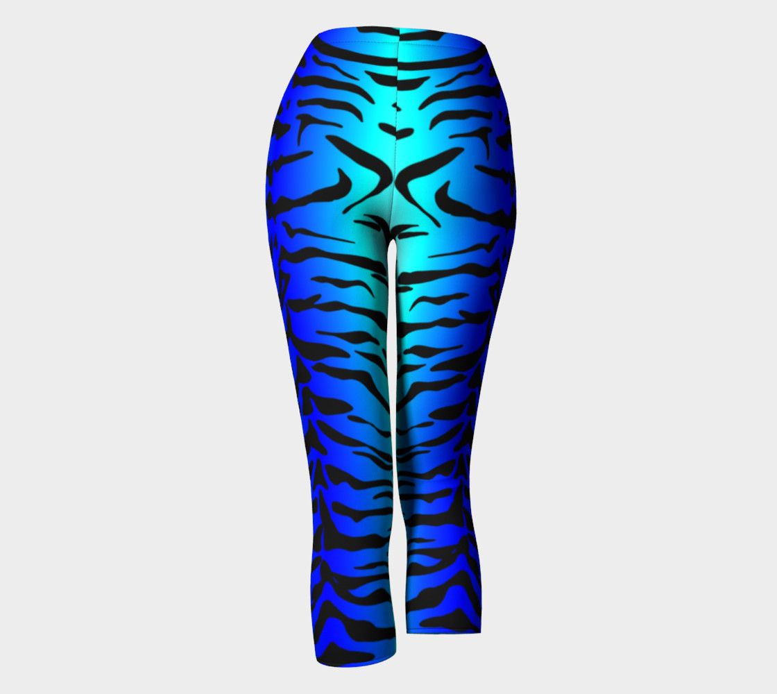 Tiger Print Capris Turquoise-Blue preview #4