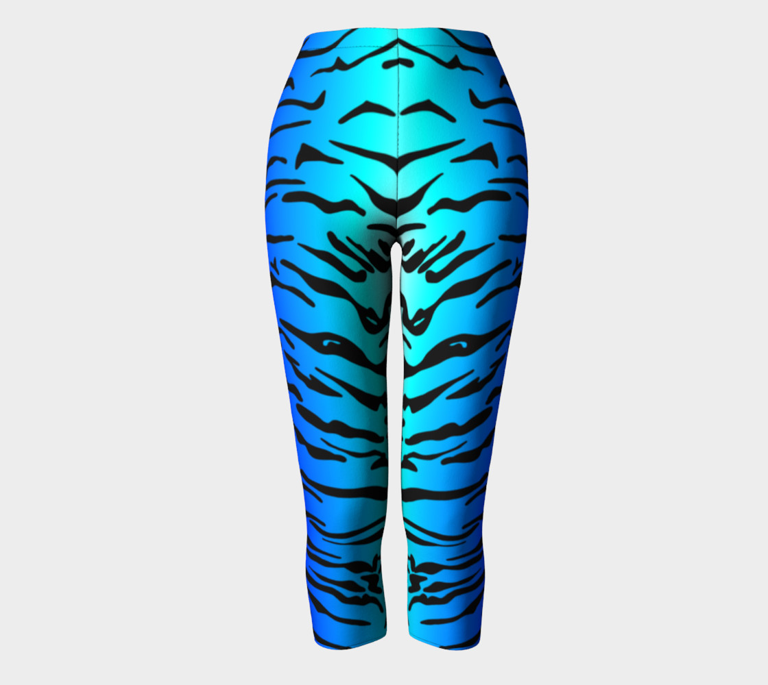 Tiger Print Capris Turquoise-Blue preview #2