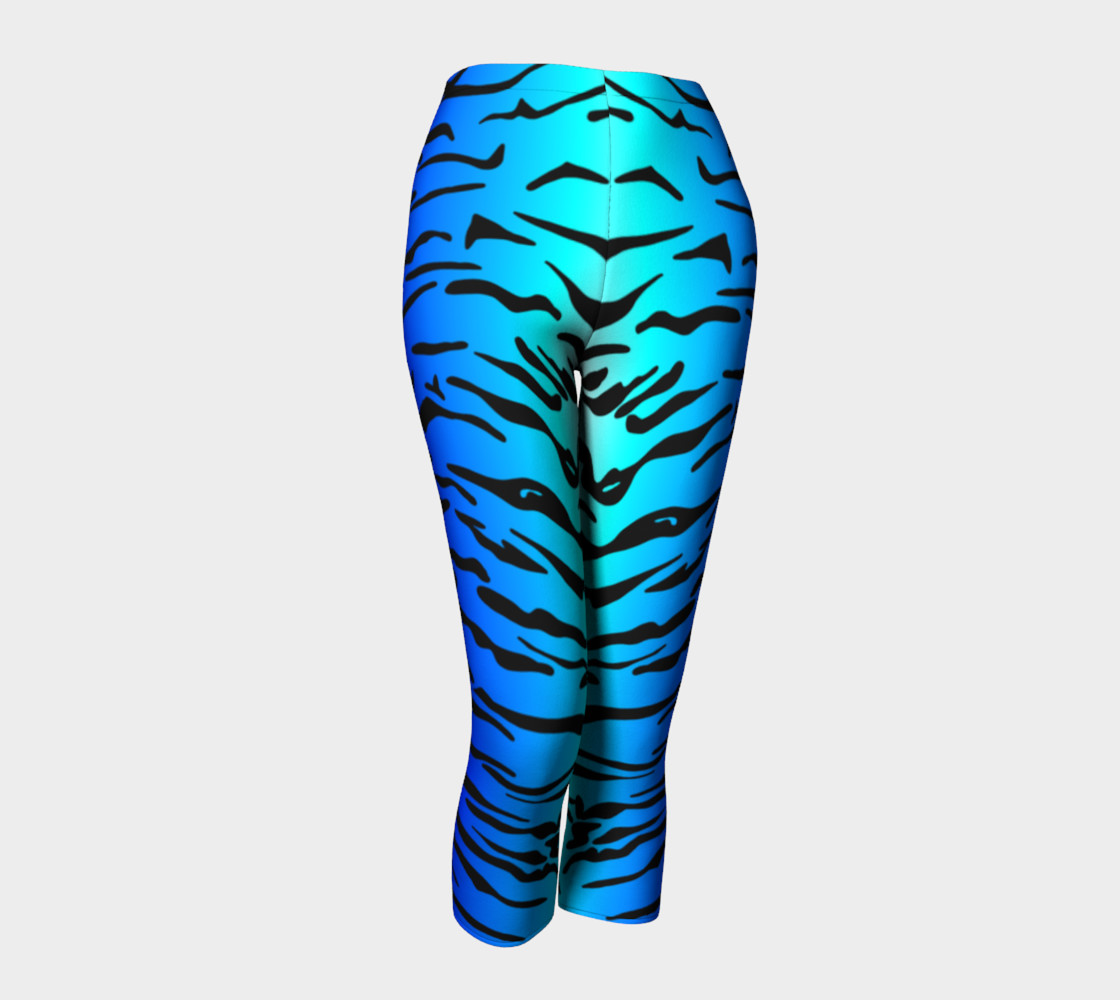 Tiger Print Capris Turquoise-Blue preview #1