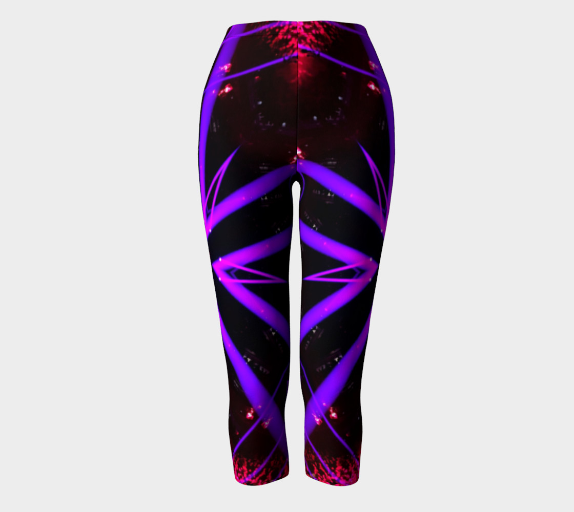 Lacy Pink and Black Capri Leggings preview #2