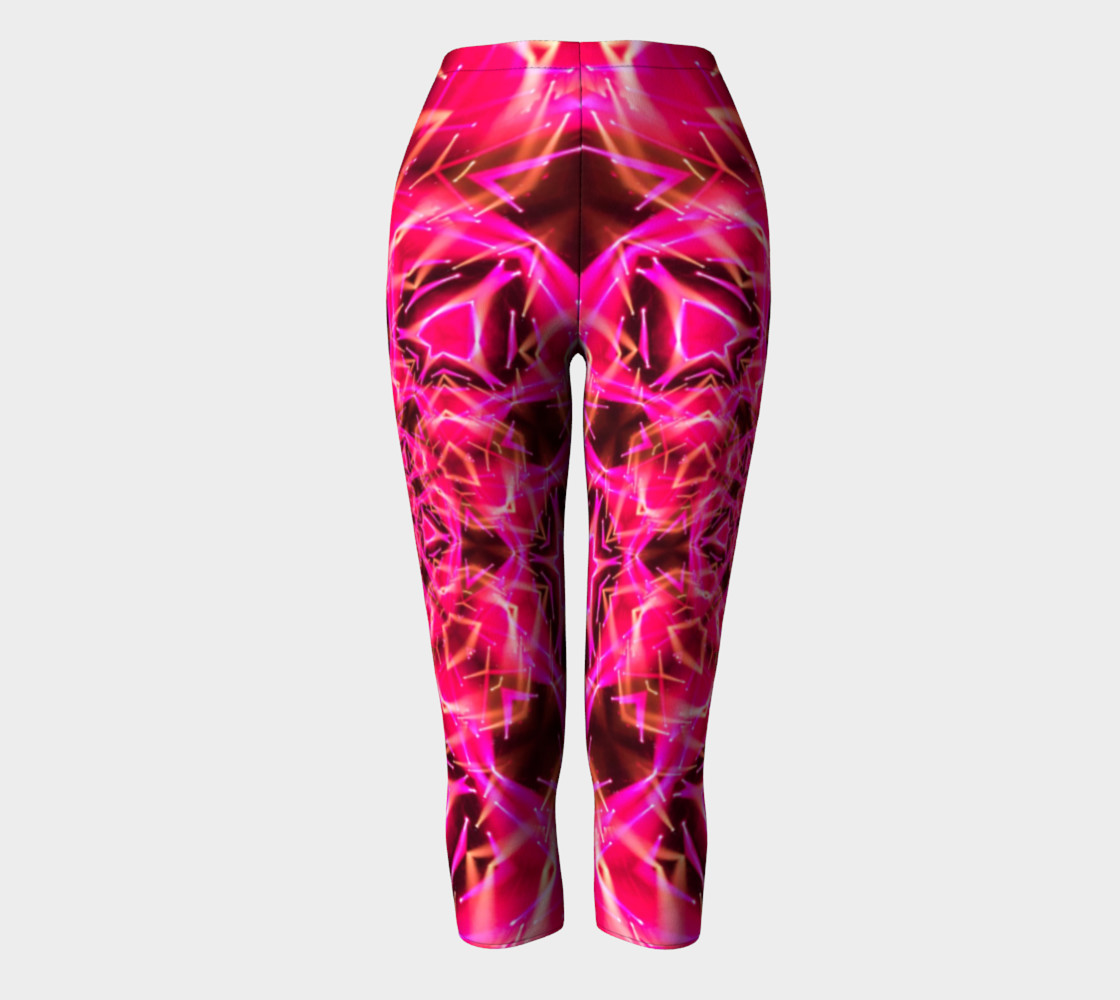 Aperçu de Hot Pink Mandala Capri Leggings #2