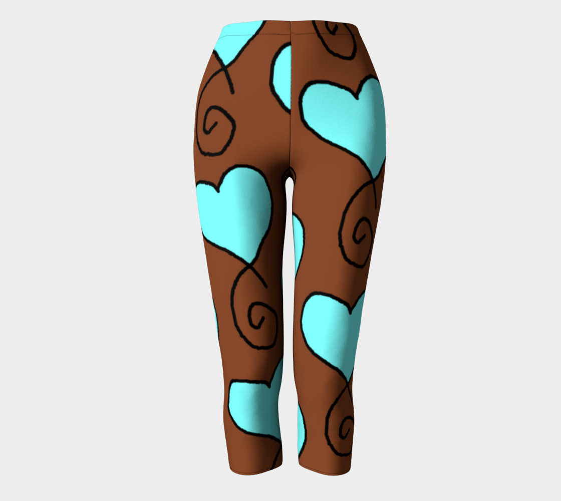 Brown With Light Blue Hearts Capris preview #2