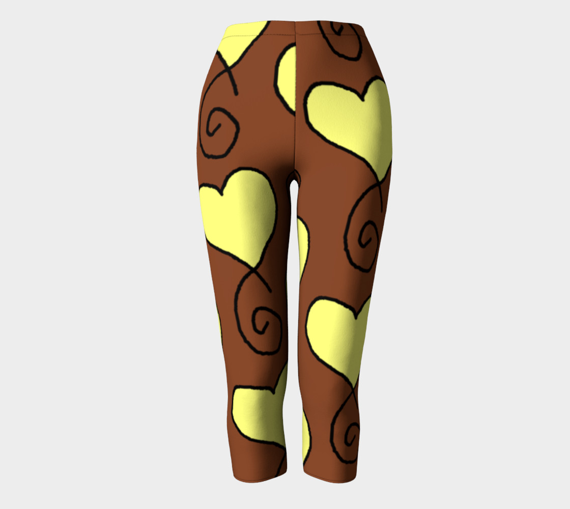 Brown with Light Yellow Hearts Capris preview #2