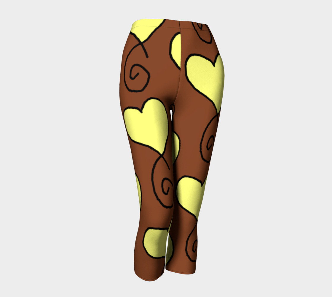 Brown with Light Yellow Hearts Capris preview #1