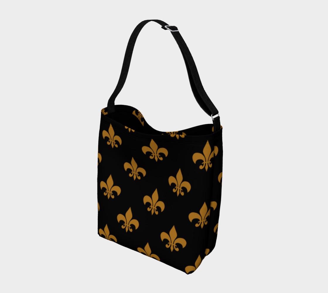 Aperçu de Matte Antique Gold Fleur de Lis on Black #2