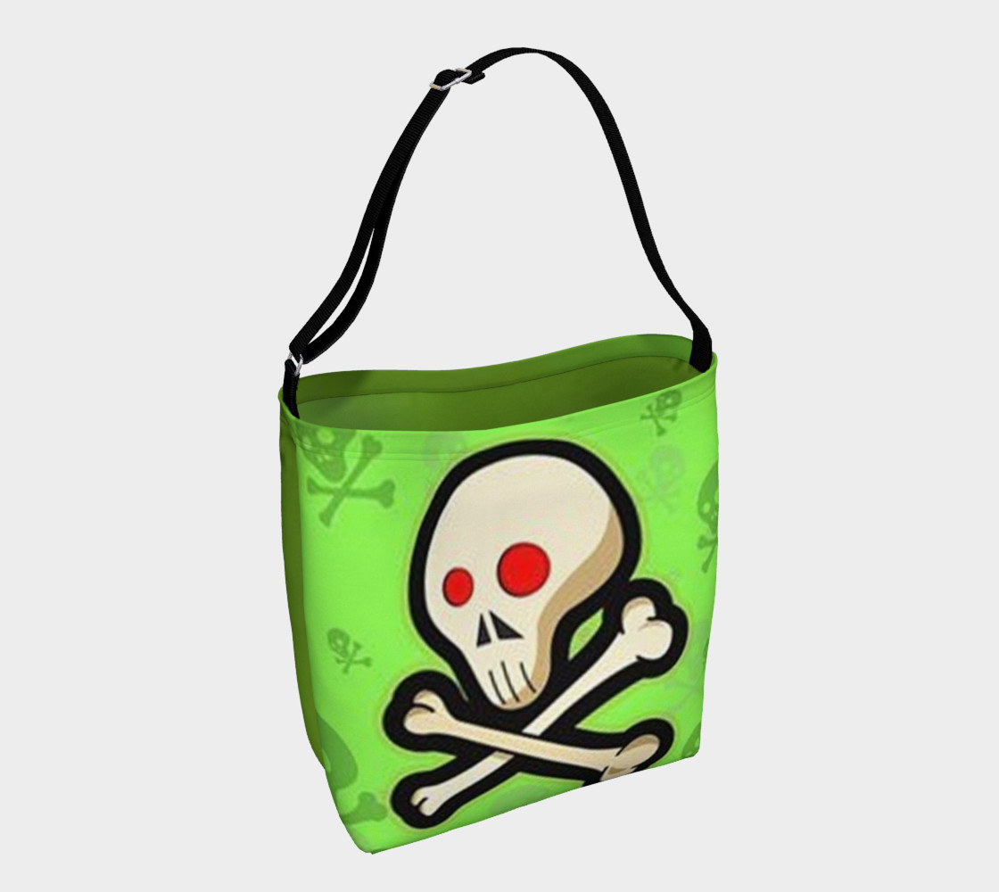 Cartoon Skull On Green Day Tote bag preview #1