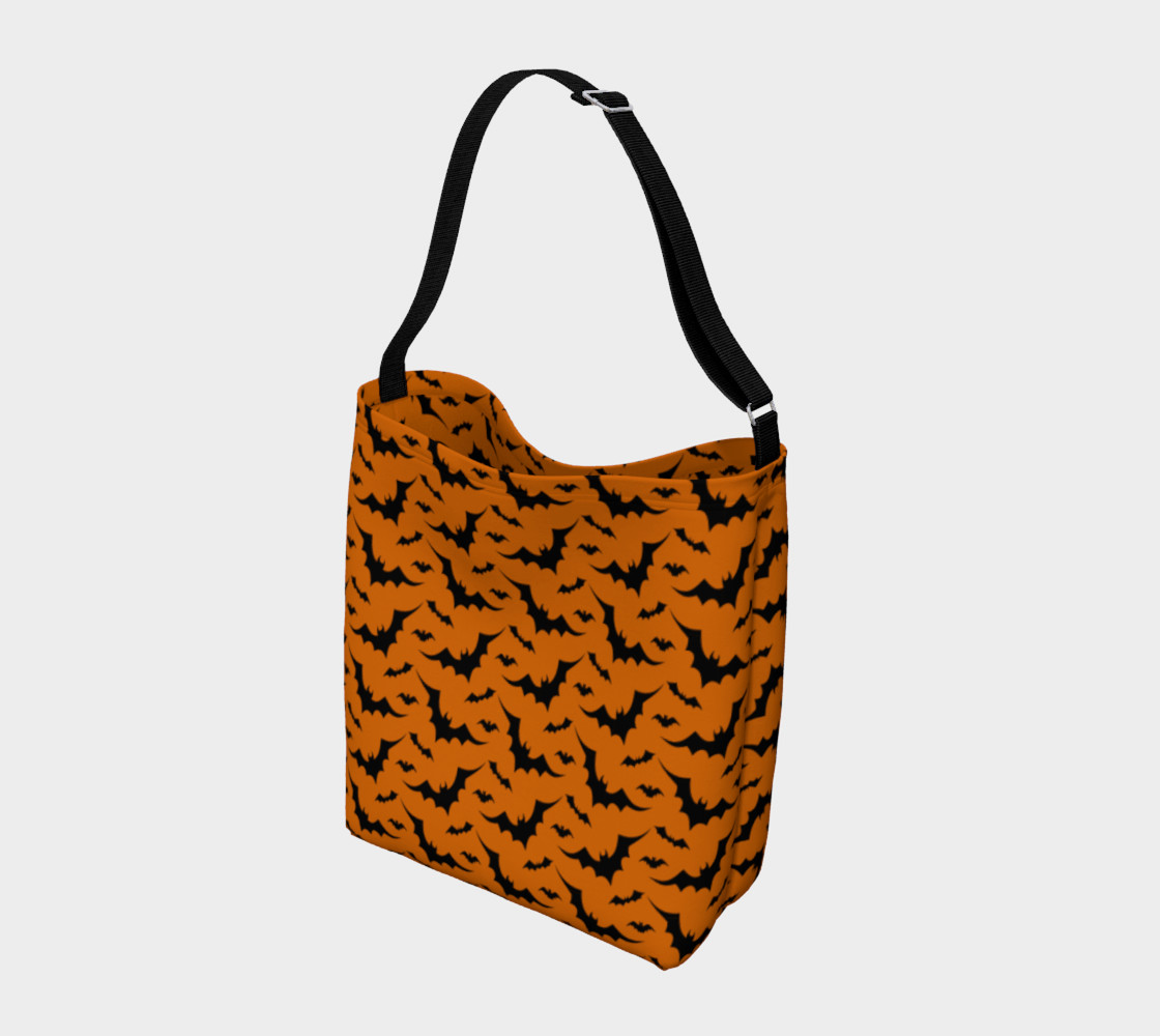 Halloween Bat Print Day Bag Tote by Vintique Custom Design © preview #2