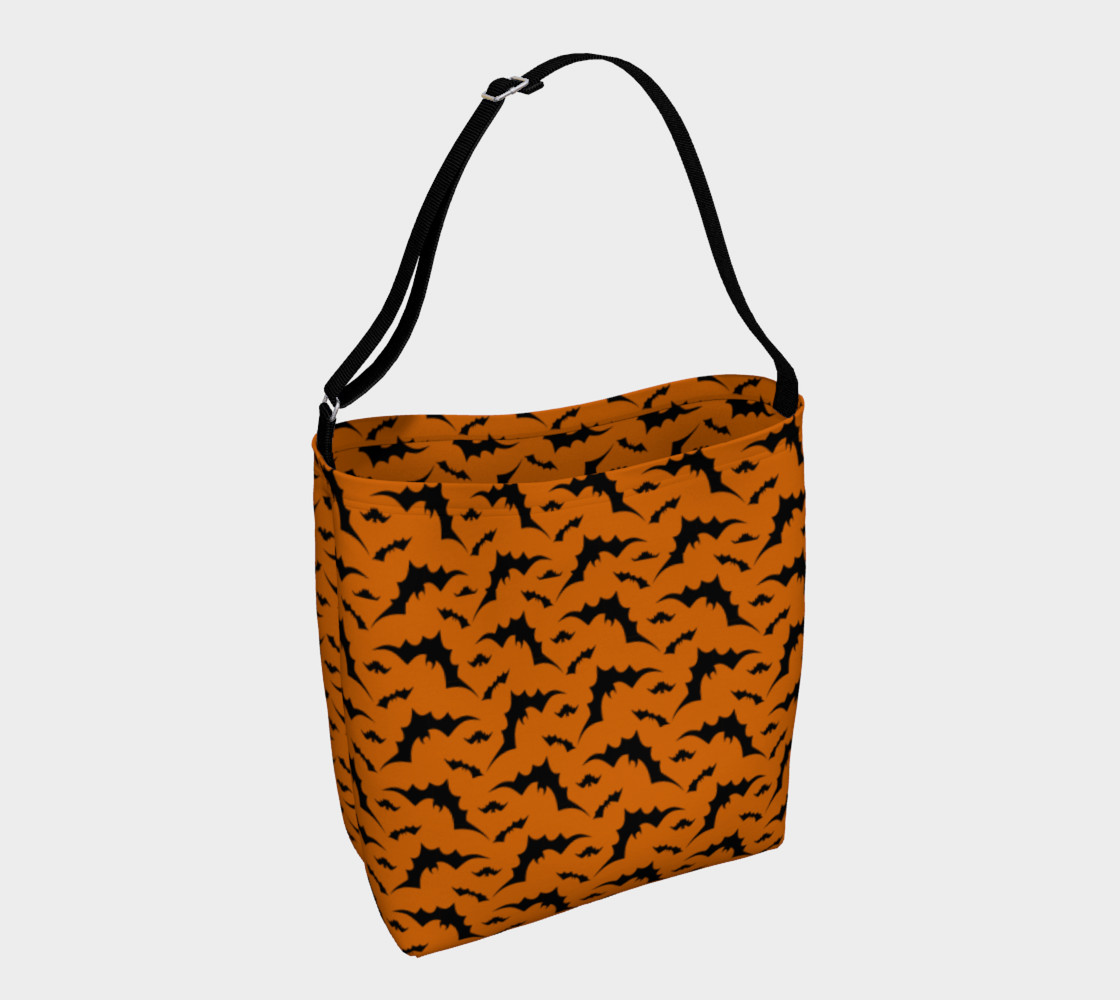 Halloween Bat Print Day Bag Tote by Vintique Custom Design © preview #1