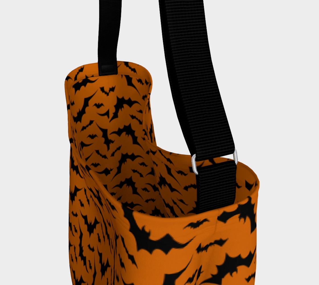 Halloween Bat Print Day Bag Tote by Vintique Custom Design © preview #3