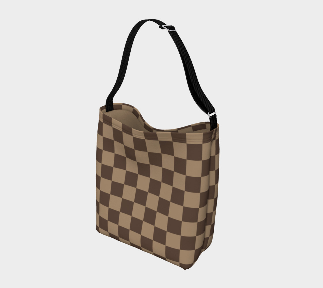 Brown Checkered Day Tote for Women preview #2