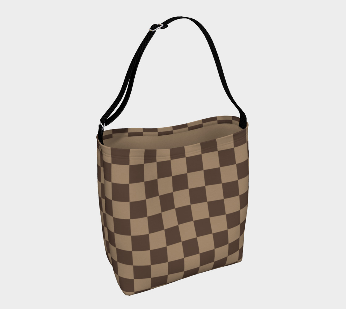 Brown Checkered Day Tote for Women preview #1
