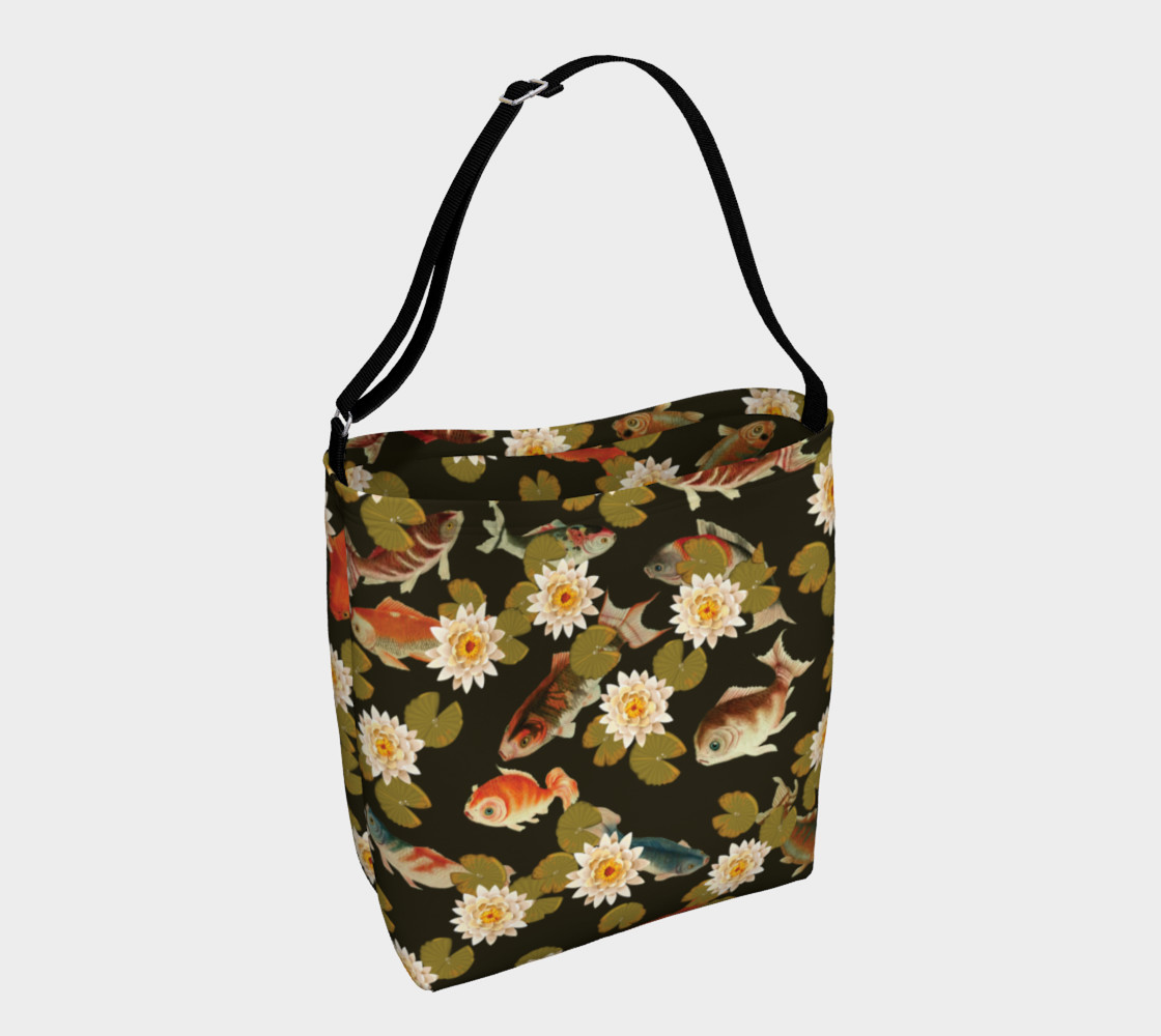 Koi & Lily Pads in Dark Water - Day Tote preview #1