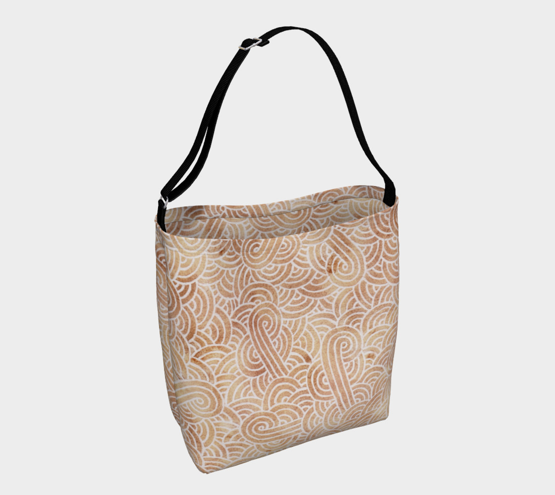 Aperçu de Iced coffee and white swirls doodles Day Tote #1