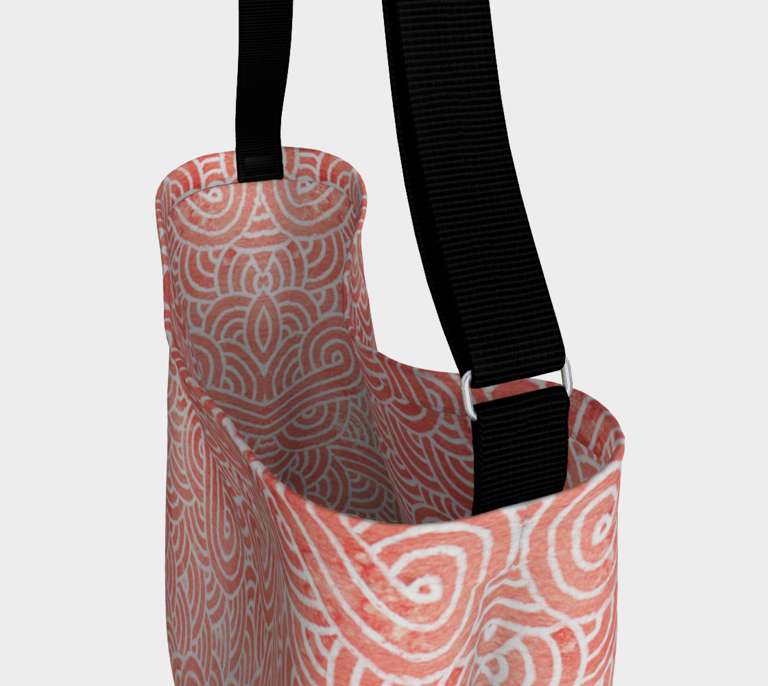 Peach echo and white swirls doodles Day Tote preview #3