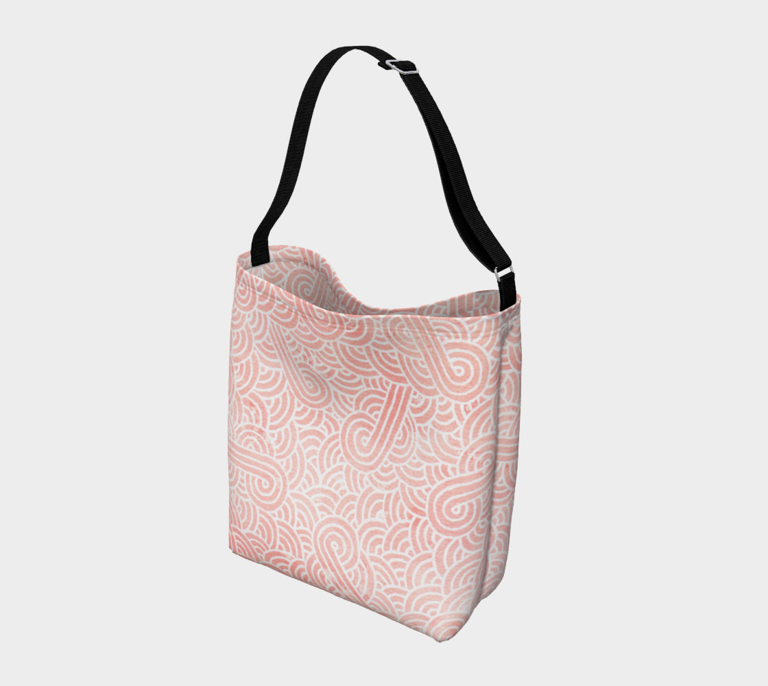 Rose quartz and white swirls doodles Day Tote preview #2
