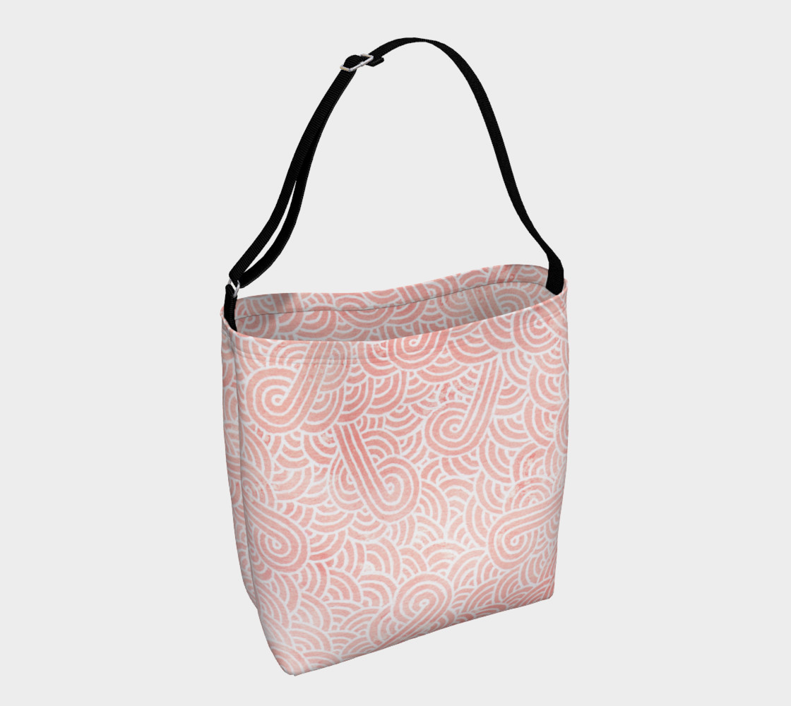 Rose quartz and white swirls doodles Day Tote preview #1