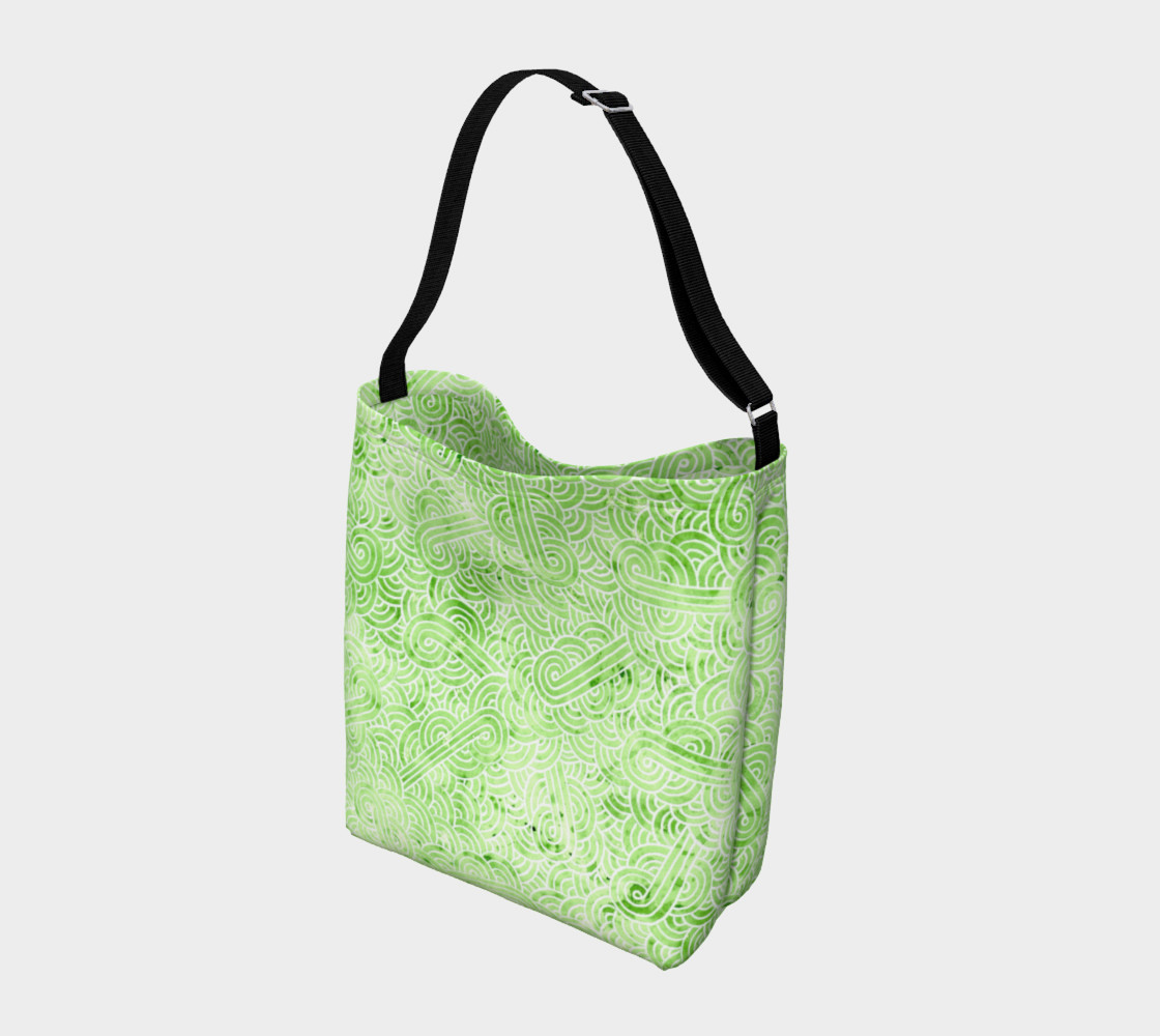 Greenery and white swirls doodles Day Tote preview #2