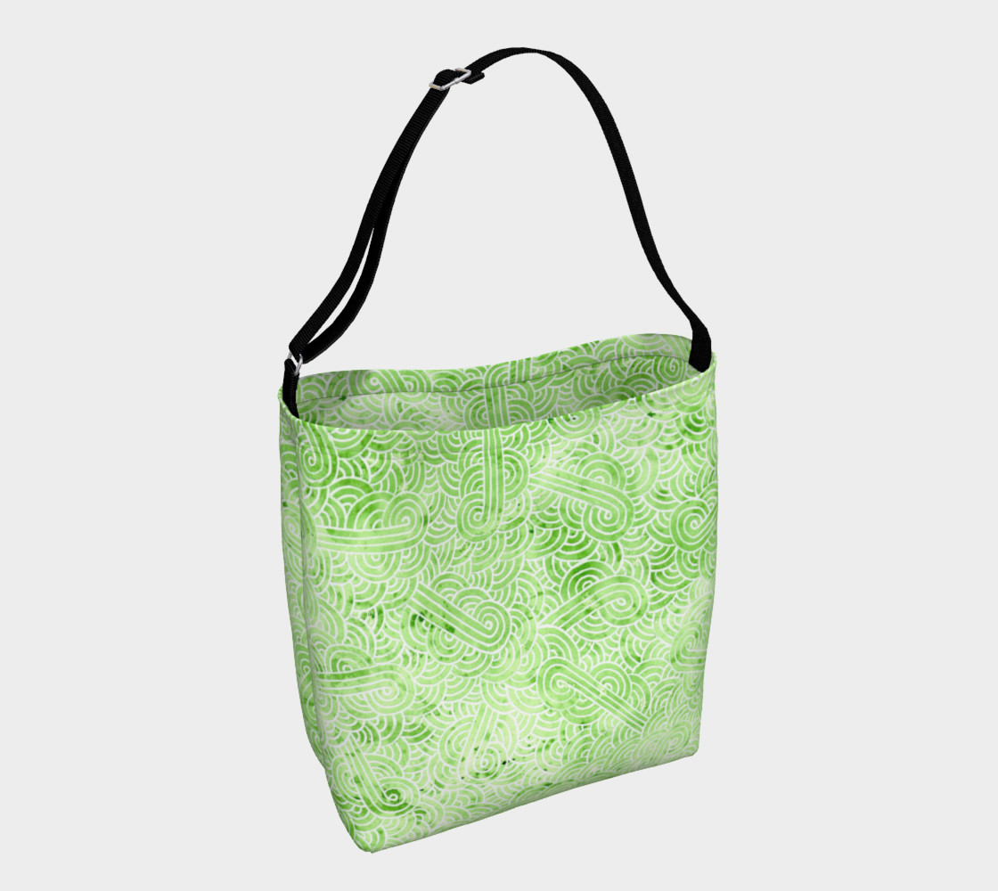 Greenery and white swirls doodles Day Tote preview #1