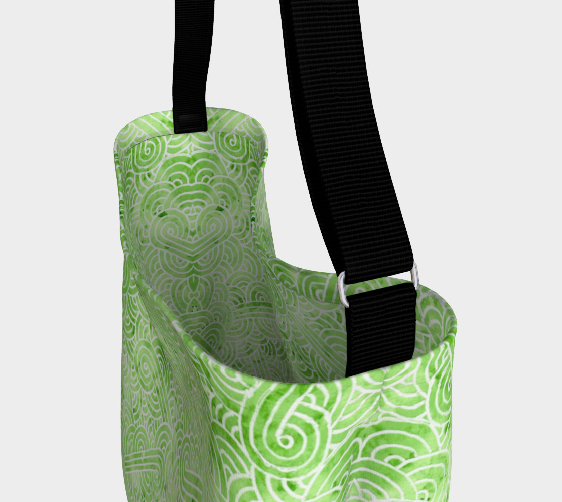 Greenery and white swirls doodles Day Tote preview #3