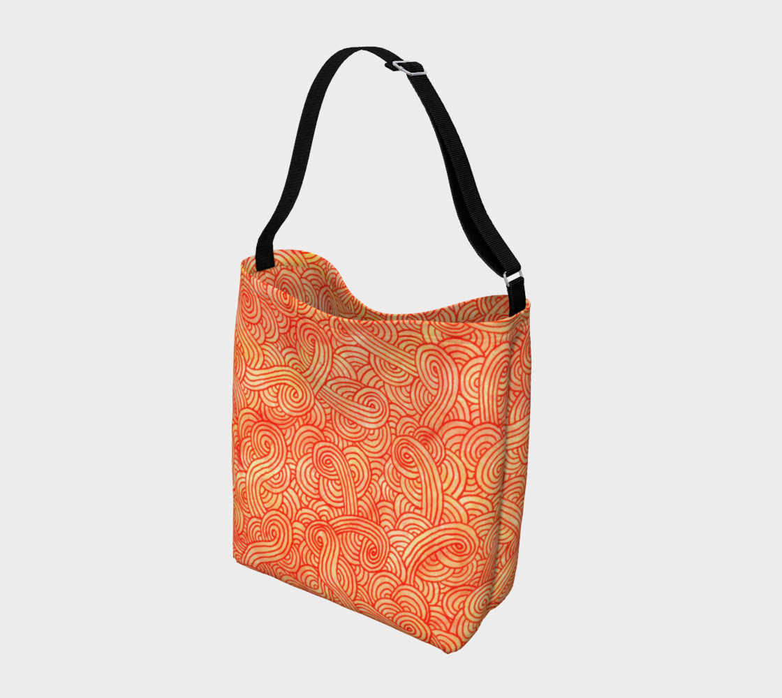 Aperçu de Orange and red swirls doodles Day Tote #2