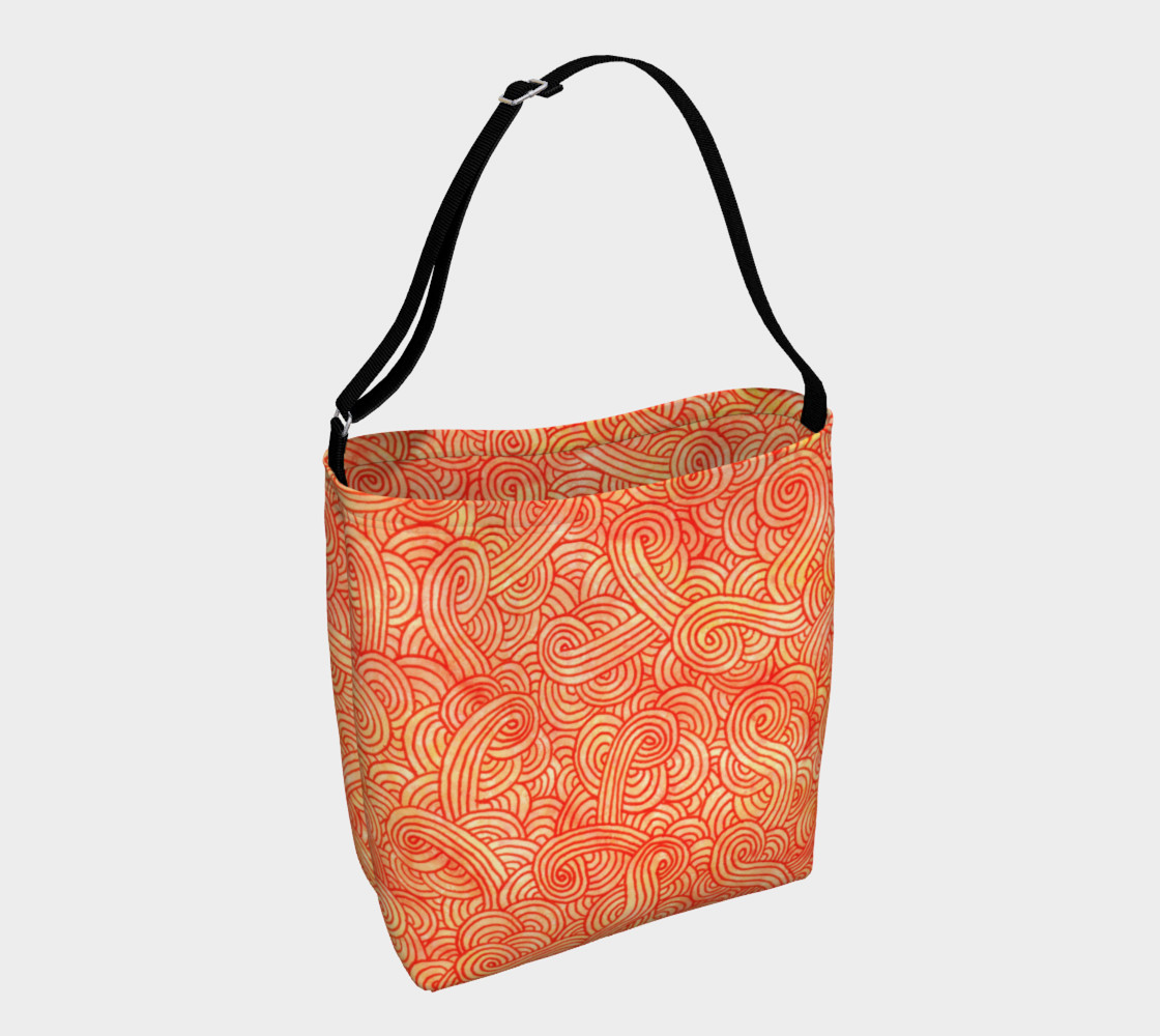Aperçu de Orange and red swirls doodles Day Tote #1