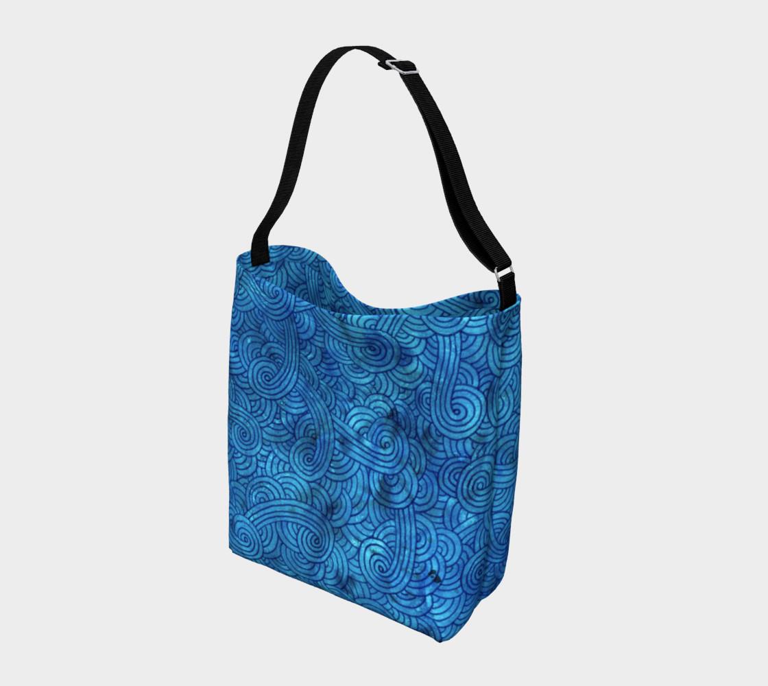 Aperçu de Turquoise blue swirls doodles Day Tote #2