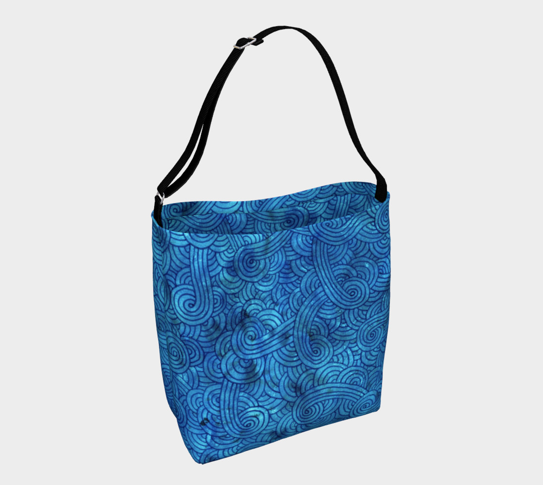 Aperçu de Turquoise blue swirls doodles Day Tote #1