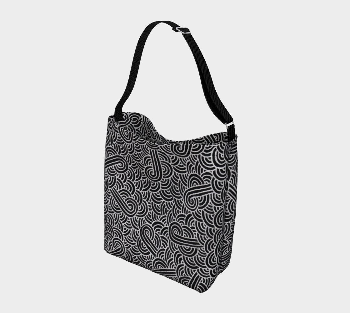 Aperçu de Faux silver and black swirls doodles Day Tote #2