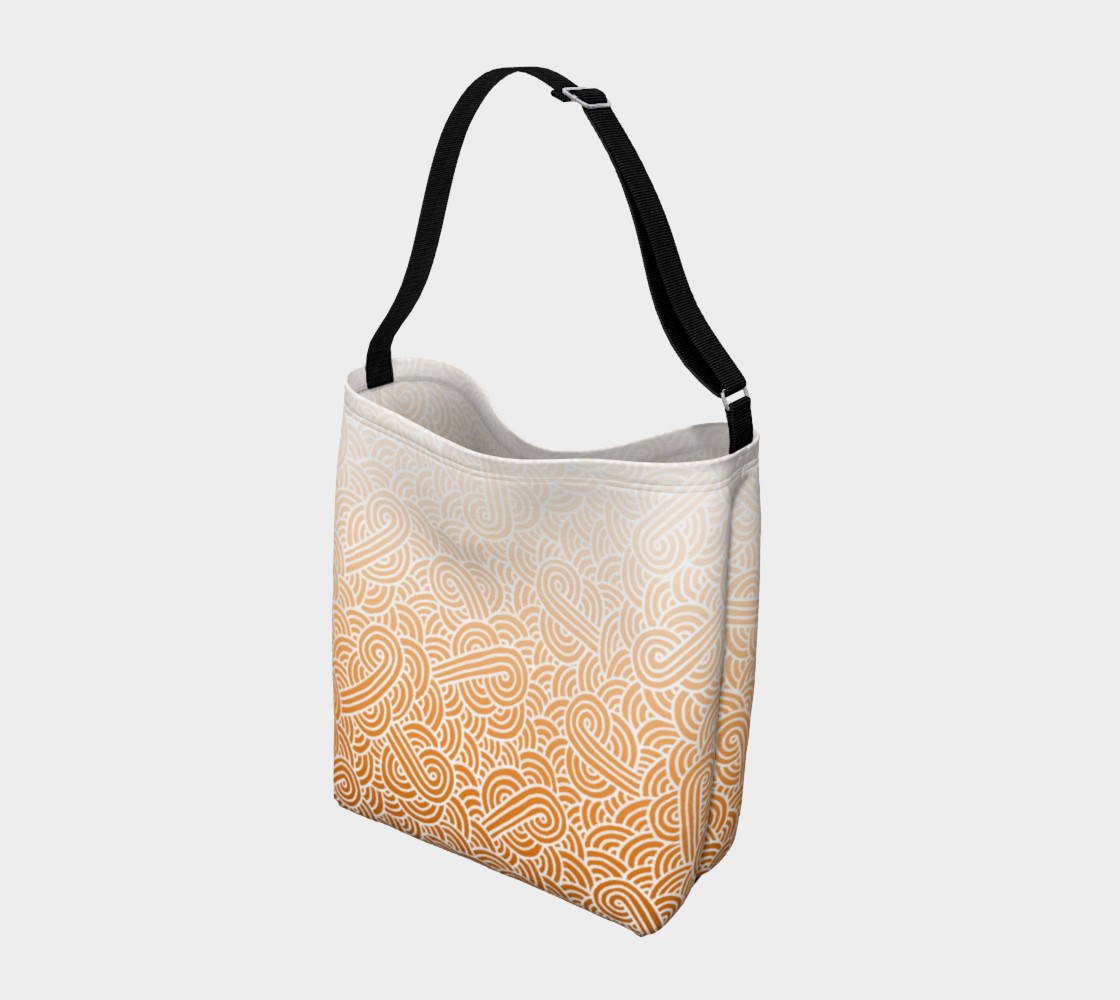 Ombre orange and white swirls doodles Day Tote preview #2